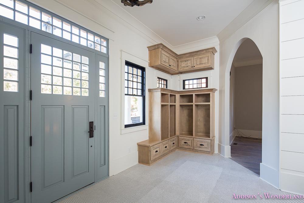 mud room white penny tile mosaic shaw floors blue front door alabaster sherwin williams cabinets coat rack storage 2 of 3 addison s wonderland
