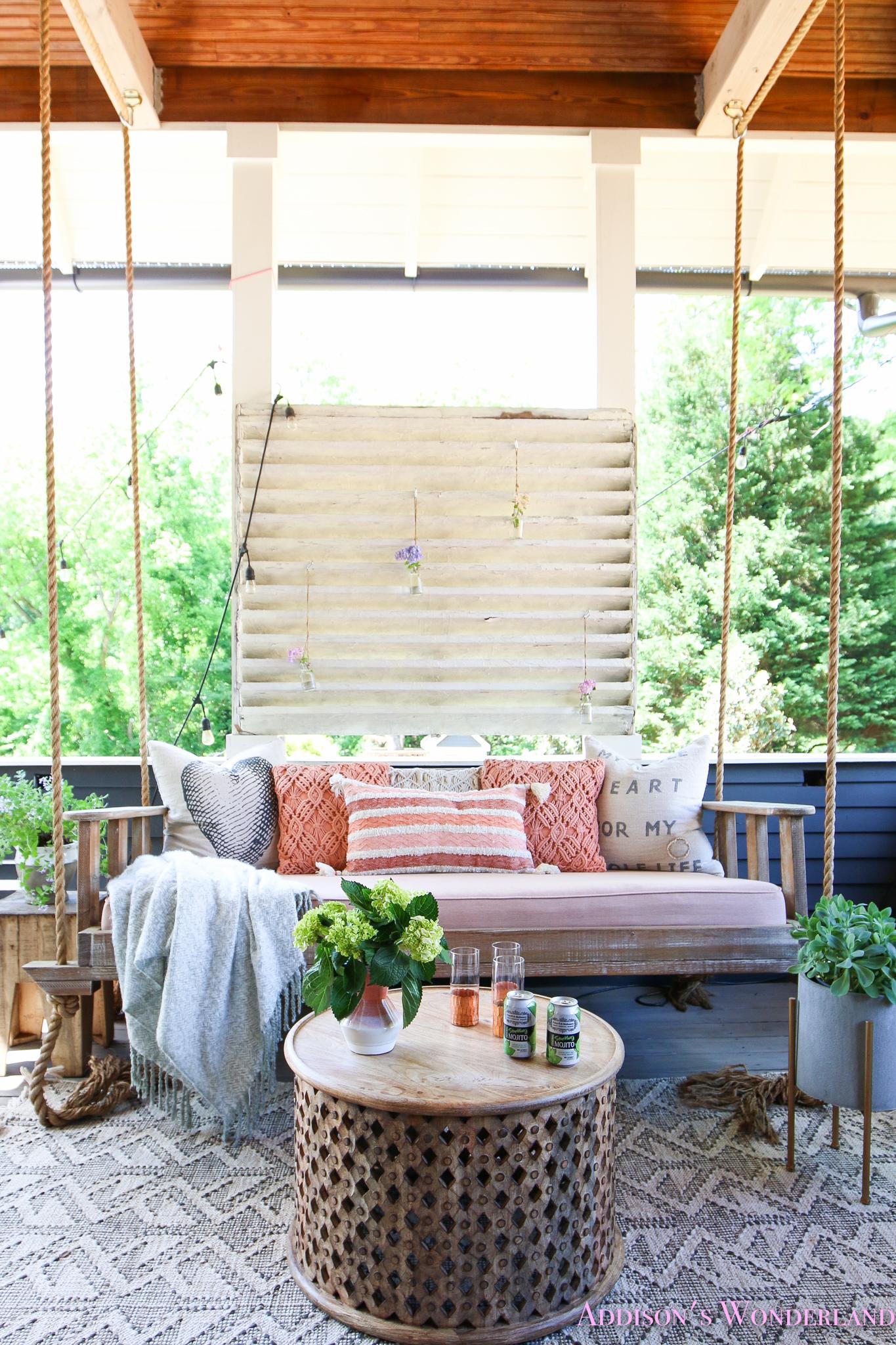 a fun colorful back porch refresh