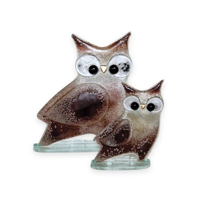 Nobile Glass Fused Glass Owl Brown Small