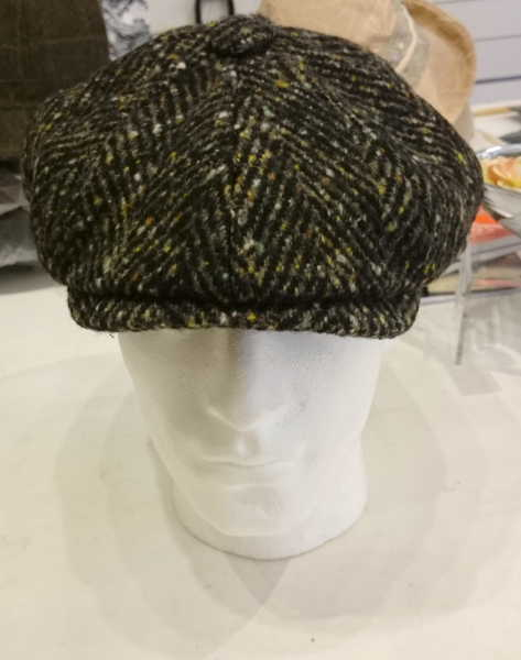 Olney Urban Chunky Herringbone Tweed Newsboy Cap Colour Olive