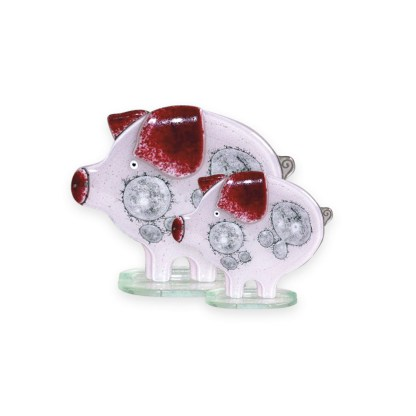 Nobile Fused Glass Pig- Pink Small