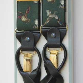 Green Wild Fowl Braces with Leather Tabs and Clips