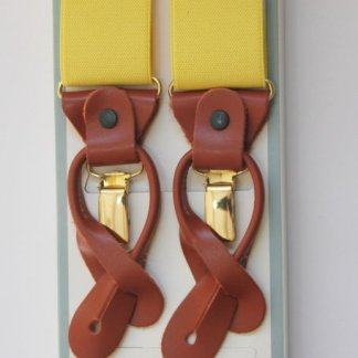 Plain Yellow Braces with Leather Tabs and Clips