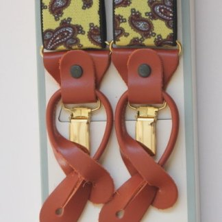 Yellow Paisley Patterned Braces with Leather Tabs and Clips