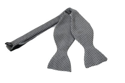 Black Silver Silk Bow Tie Self Tie
