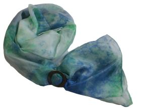 Ladycrow Silk Pongee Flat Silk Scarf with Pewter Ring in Gift Box Colour/Style Lagoon
