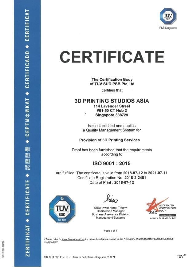 ISO 9001:2015 Certified in 3D Printing Services