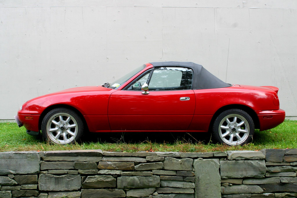 Miata side view stone wall