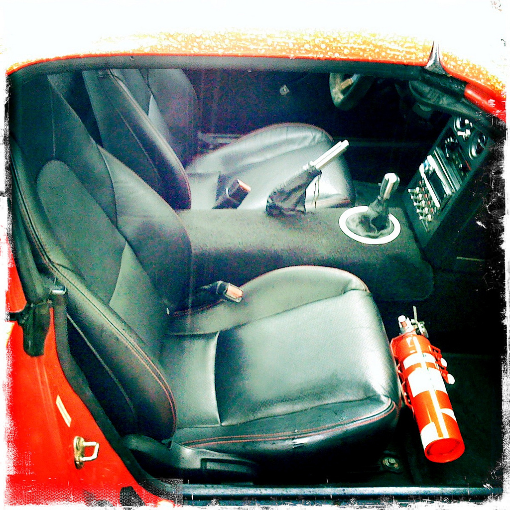 Halon fire extinguisher, Brey-Krause bracket, Mazdaspeed Miata leather seats
