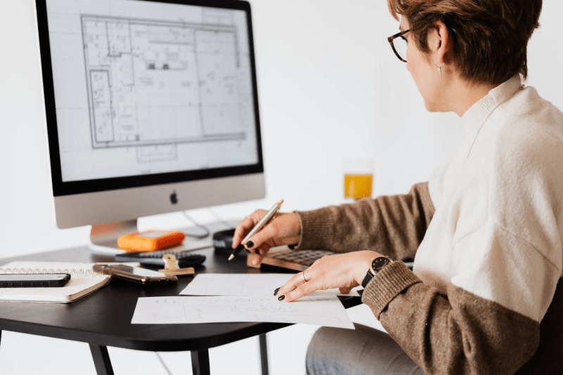 construction drawing on a computer screen