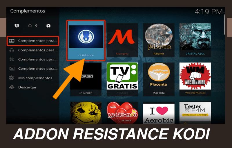 instalar addon resistance kodi 2019