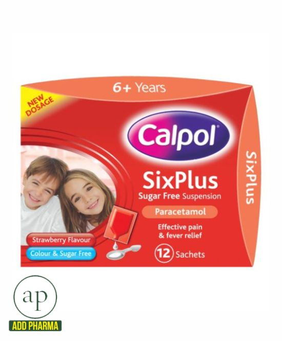 Calpol strawberry flavour 6 years - 12x5ml sachets