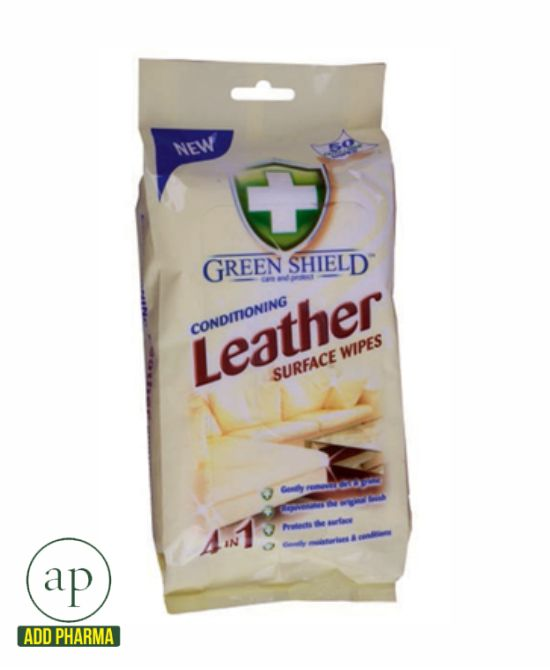 Green Shield Conditioning Leather Surface Wipes - Pack of 50 Wipes