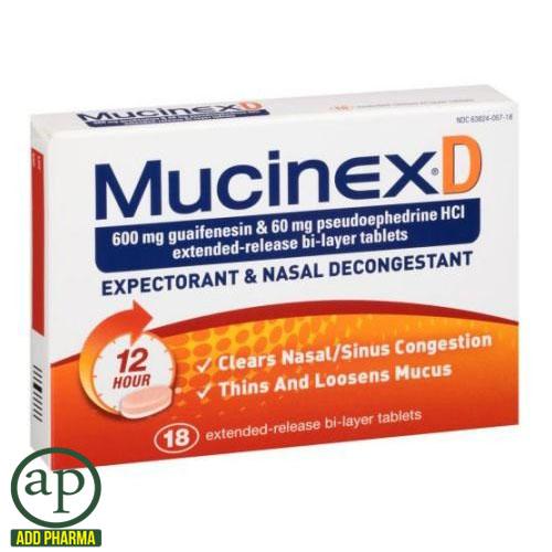 Mucinex D Expectorant & Nasal Decongestant - 18 Tablets