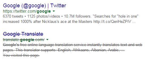 Screenshot of a Google search result that is struck through