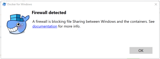A firewall is blocking sharing between Windows and the