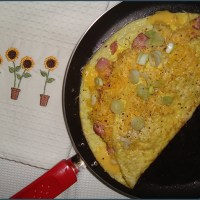 Bacon and spring onion omelette