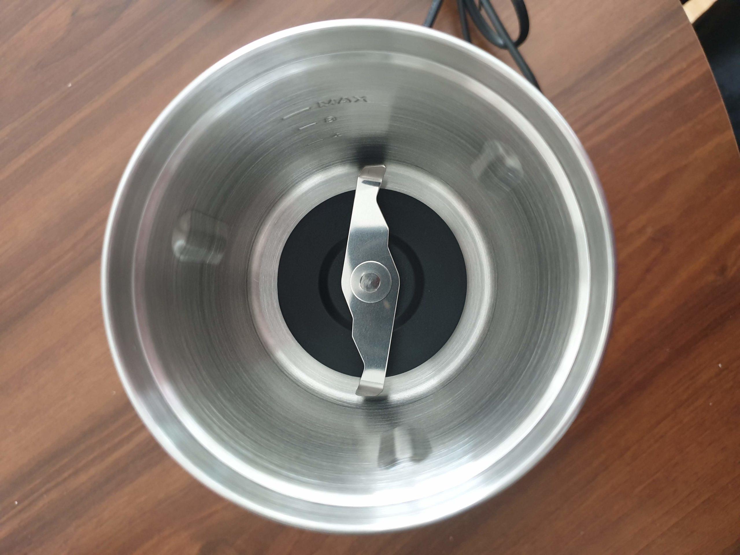 duronic coffee grinder inside bowl