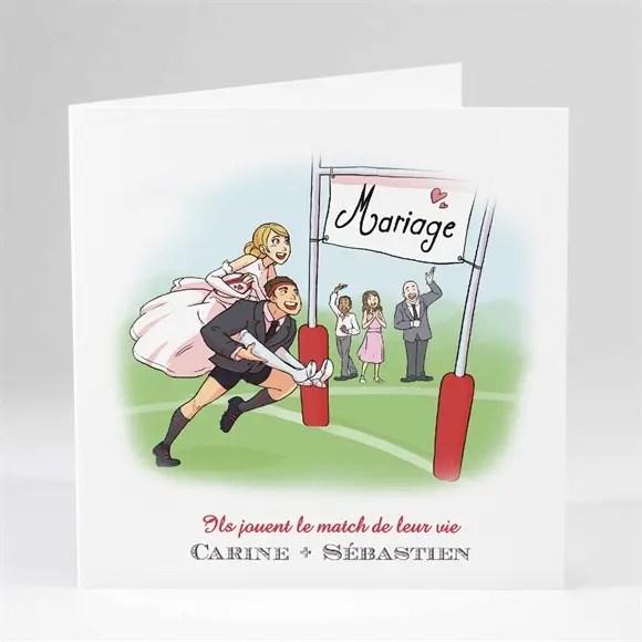 faire part mariage humour et rugby