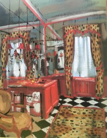 zig zag fur pelmet, checkerboard floor and mirrored walls.