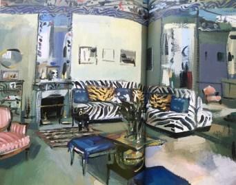 Zebra banquette in her infamous Parisian salle de bains