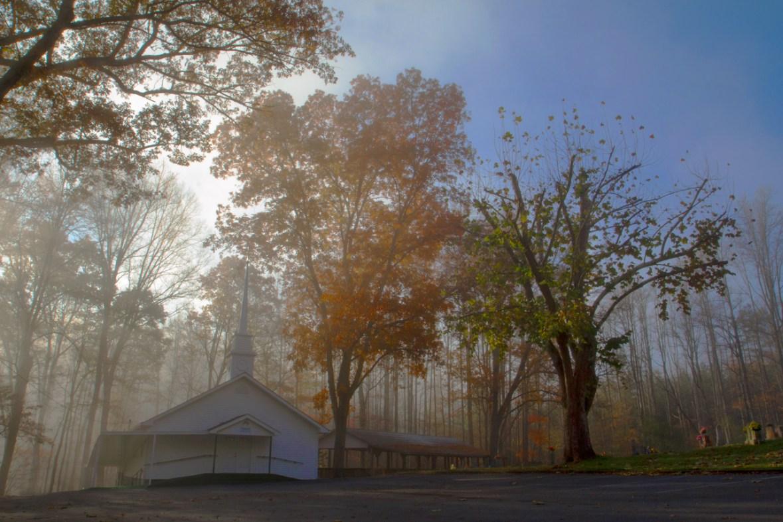 Ozion Church in Morning Fog, Blue Ridge, GA © Adel Alamo 2014