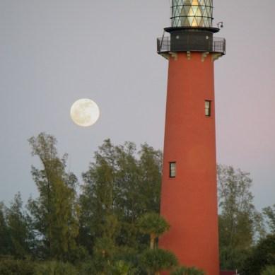 Moon over Jupiter Lighthouse, FL