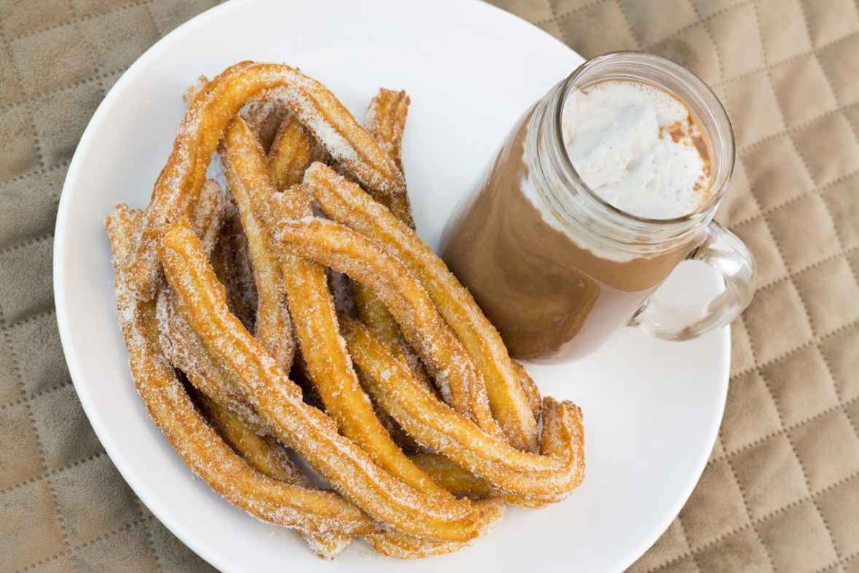 Cuban churros, cuban hot chocolate, coconut whipped cream, thekindercook.com