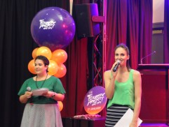 Lauren & Hayley from Adelady MCing at the event