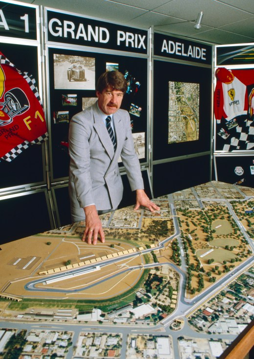 Adelaide Grand Prix boss Mal Hemmerling with the circuit model in 1985.