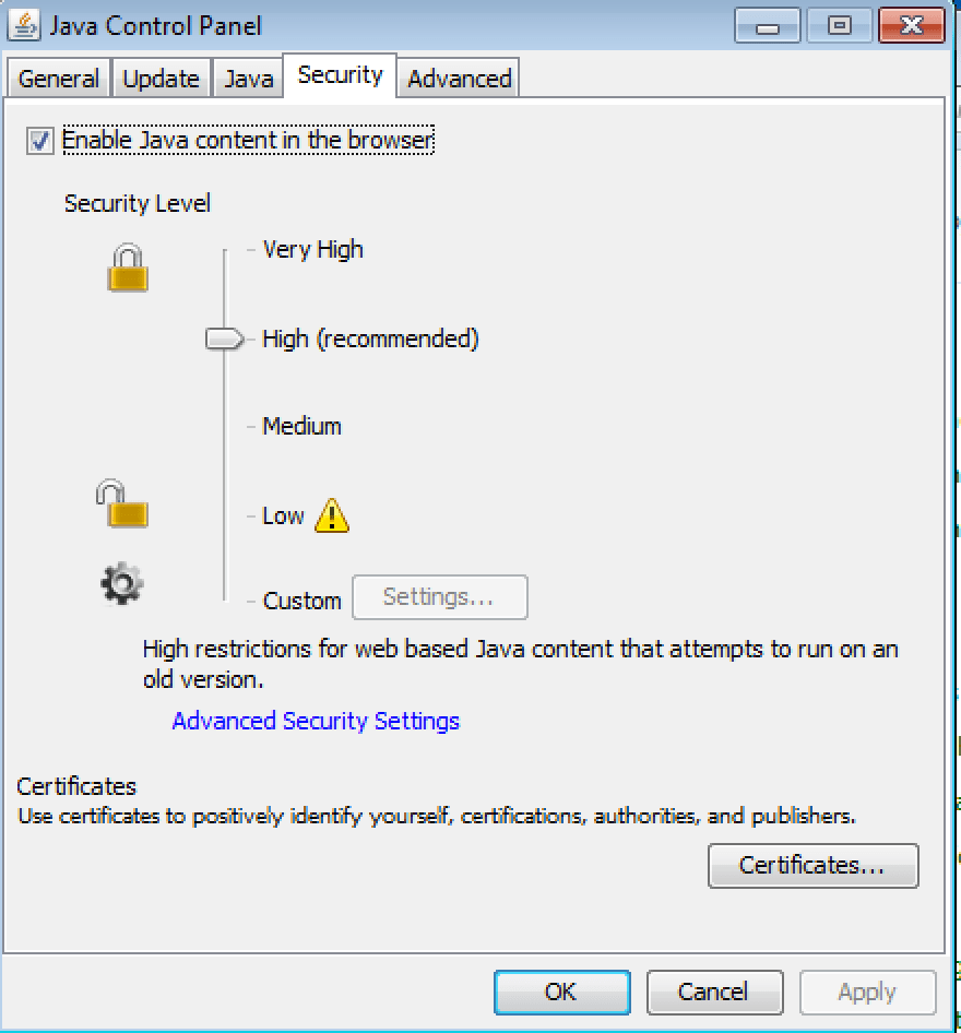 Java Settings - Check The Security Level - ADELAIDE TECHGUY