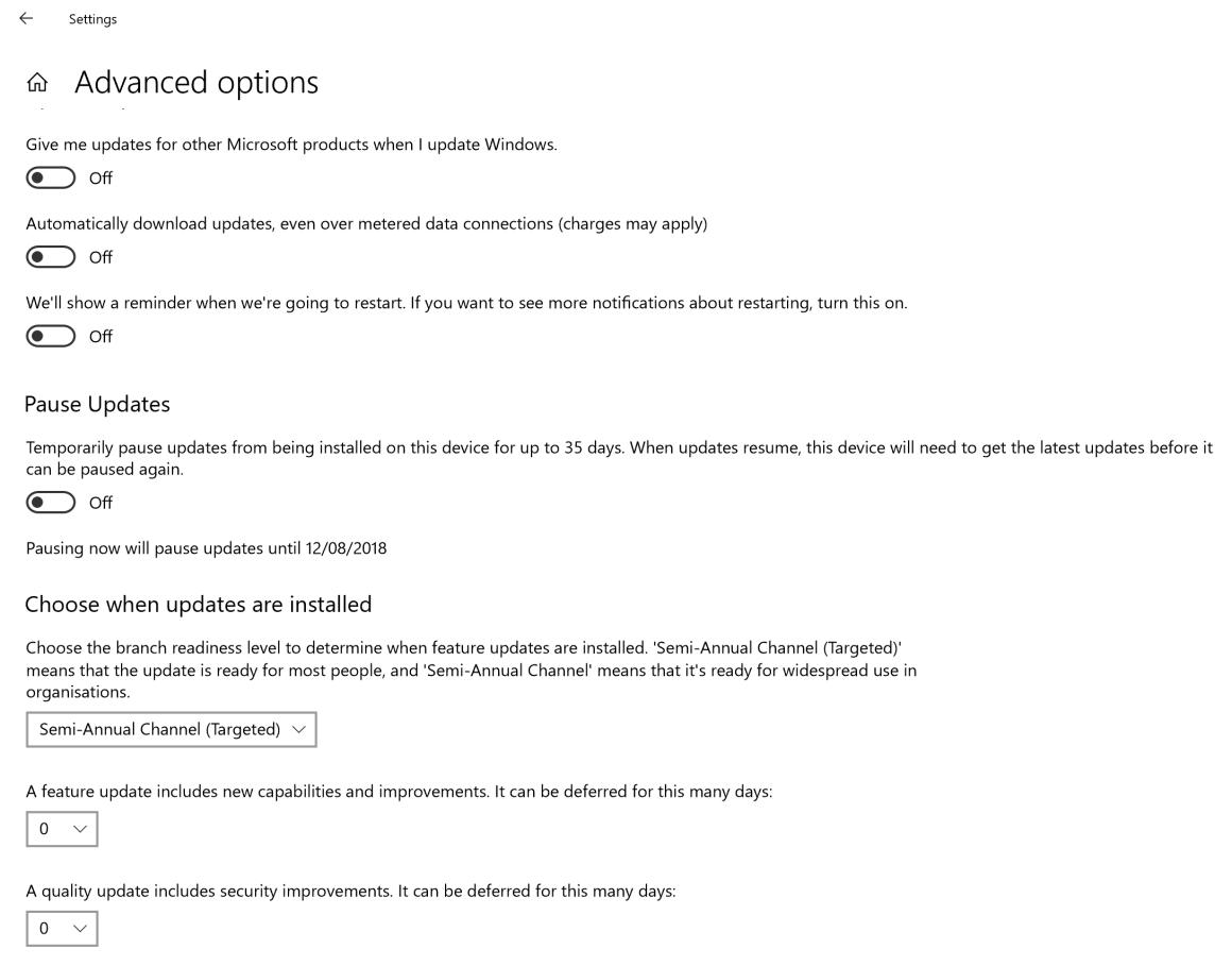 Windows update advanced settings