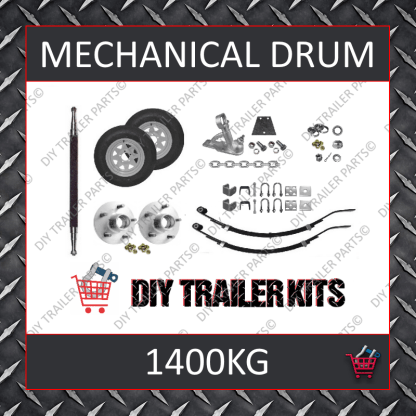 Single Axle Running Gear Kit - Mechanical Drum Brake 1400kg (Parts Only)