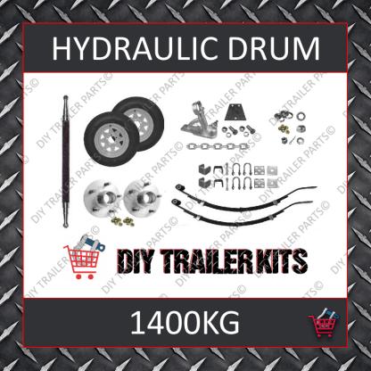 Single Axle Running Gear Kit - Hydraulic Brake 1400kg (Parts Only)