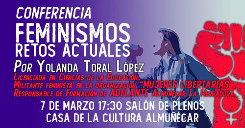 Adelante participa con una conferencia sobre feminismo en las jornadas organizadas por la Plataforma 8M de Almuñécar