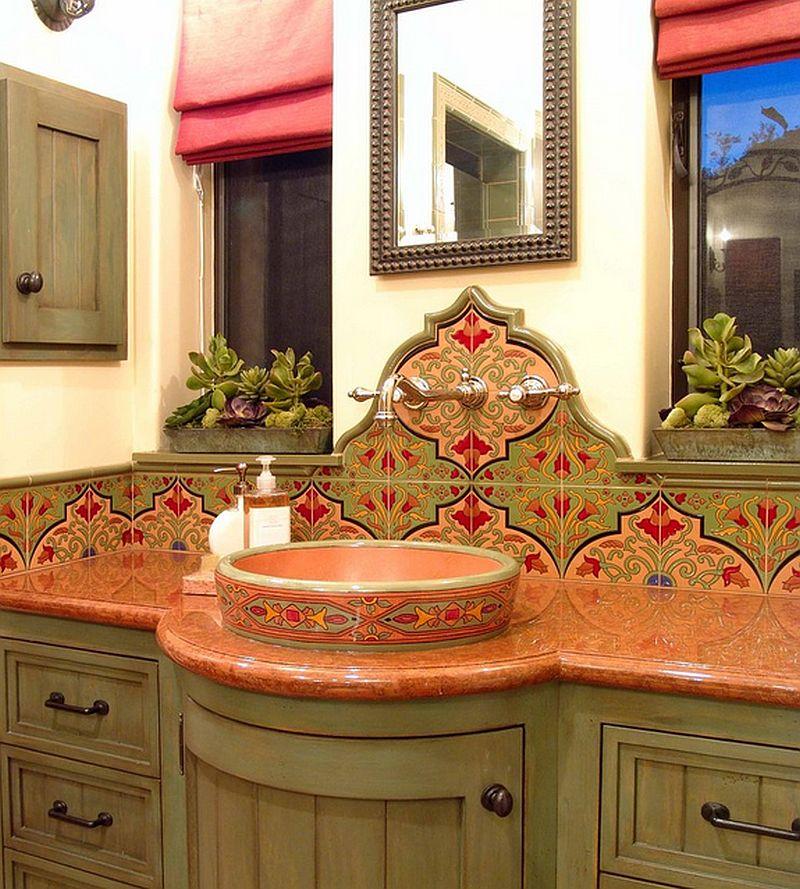 adelaparvu.com despre bai cu placi ceramice pictate, bai in stil mediteranean Maraya Interior Design