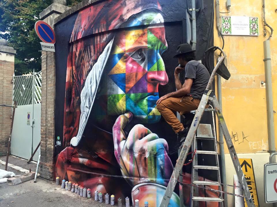 adelaparvu.com despre Eduardo Kobra artistul graffiti al oraselor, murala Dante Alighieri