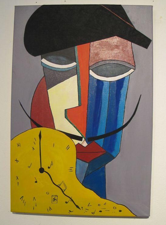 Omagiu lui Dali de Elena Labusca lucrare din cadrul expozitiei Perceptia cromatica