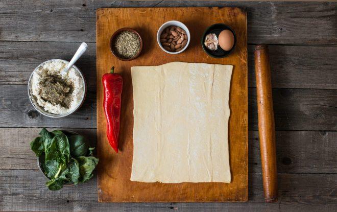 ingrediente foietaj cu branza spanac migdale ardei copti