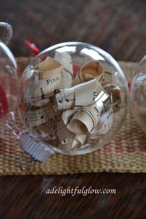 Christmas Ornament filled with old music paper curls