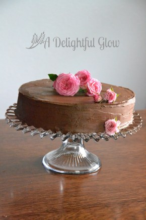 Cake and Roses with Fudgy Frosting