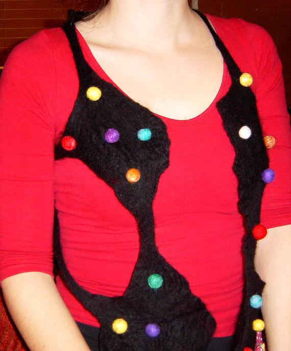 Coloured ball shawl 2