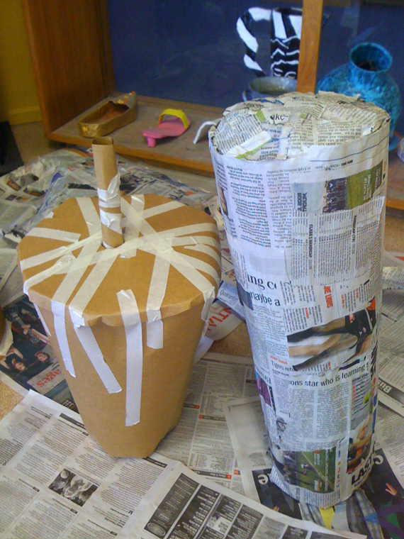 papier mache giant food drink and sushi