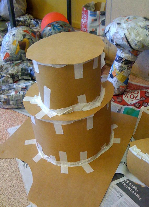 papier mache giant food wedding cake
