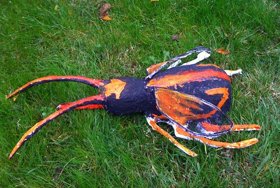 papier mache bug sculptures