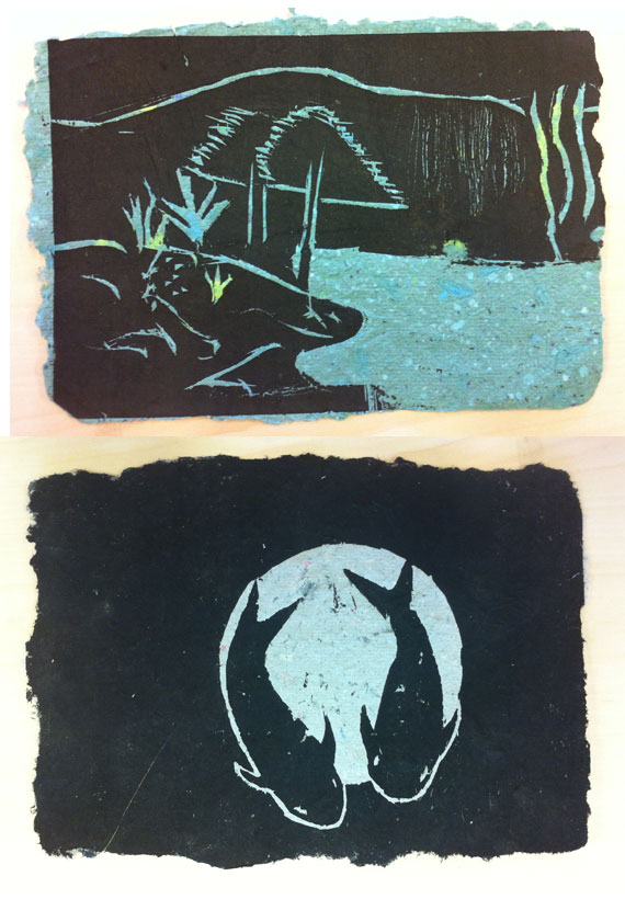 wood block printing on handmade paper