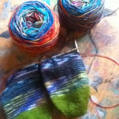 Min skein rainbow socks