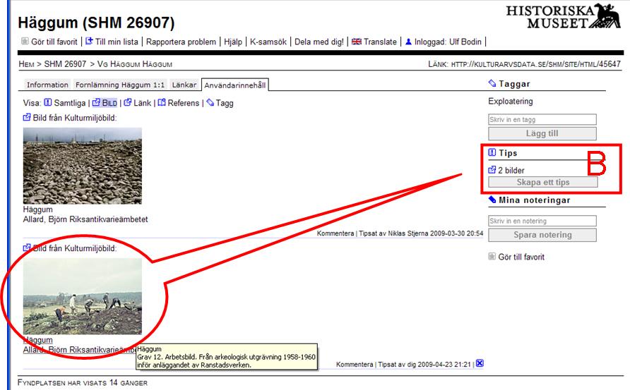 Länkade bilder visas under fliken Användarinehåll på ett objekt
