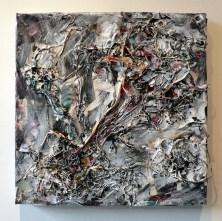 "15"" x 15"", magazine clippings, thread and acrylic paint on canvas 2008"