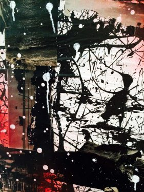 """39"""" x 51"""", magazine clippings, latex paint and spray paint on canvas, 2014"""